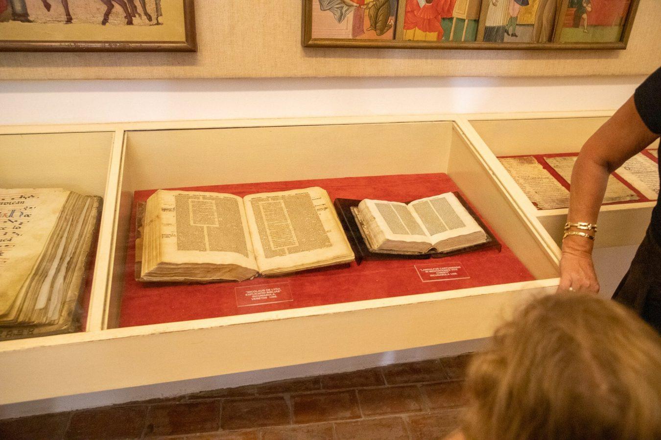 Some handwritten books on display