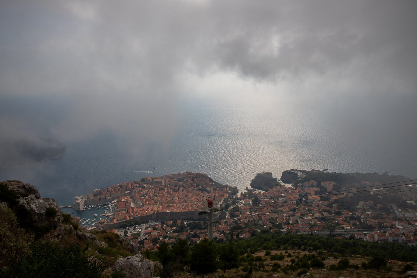 Dubrovnik from above, through the misty clouds