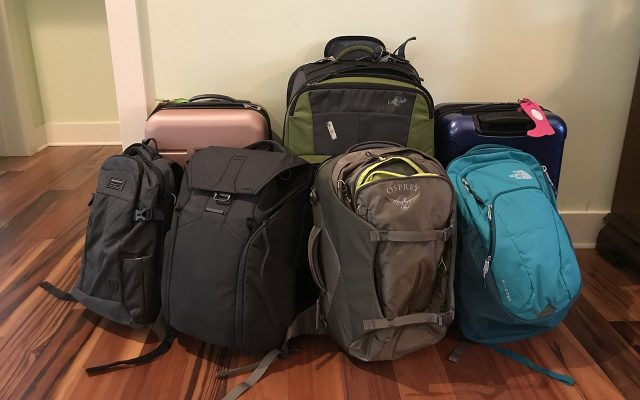 Our Bags for Most of the Year (Not pictured are the two booster seats will also need to bring)
